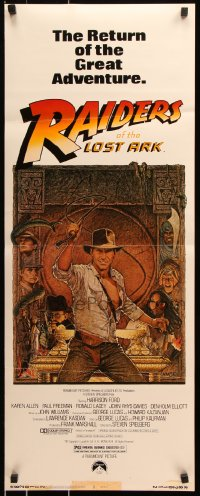 7w906 RAIDERS OF THE LOST ARK insert R1982 great art of adventurer Harrison Ford by Richard Amsel!