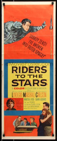 7w912 RIDERS TO THE STARS insert 1954 William Lundigan has broken into outer space w/gravity zero!