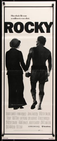 7w915 ROCKY insert 1976 boxer Sylvester Stallone holding hands with Talia Shire, boxing classic!