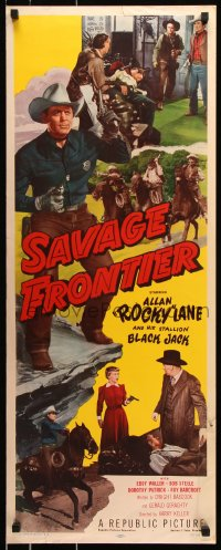 7w918 SAVAGE FRONTIER insert 1953 full-length Rocky Lane shooting guns + his horse Black Jack!