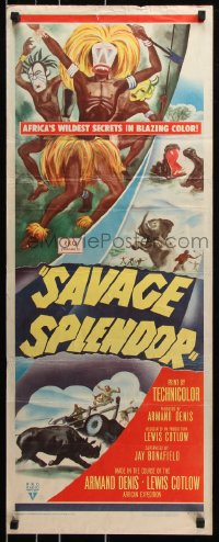 7w919 SAVAGE SPLENDOR insert 1949 Armand Denis African jungle expedition, cool images!