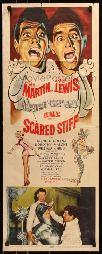 7w922 SCARED STIFF insert 1953 artwork of terrified Dean Martin & Jerry Lewis with ghost!