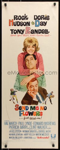 7w925 SEND ME NO FLOWERS insert 1964 great image of Rock Hudson, Doris Day & Tony Randall!