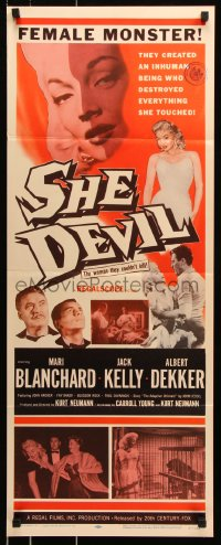 7w929 SHE DEVIL insert 1957 sexy inhuman female monster who destroyed everything she touched!