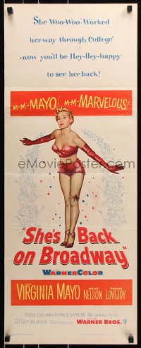 7w930 SHE'S BACK ON BROADWAY insert 1953 full-length sexy Virginia Mayo in skimpy outfit!