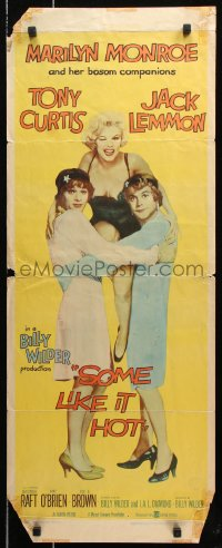 7w936 SOME LIKE IT HOT insert 1959 sexy Marilyn Monroe, Tony Curtis & Jack Lemmon in drag, rare!
