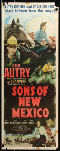 7w939 SONS OF NEW MEXICO insert 1949 cool image of Gene Autry with gun, Champion!
