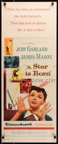 7w942 STAR IS BORN insert 1954 great close up art of Judy Garland, James Mason, classic!