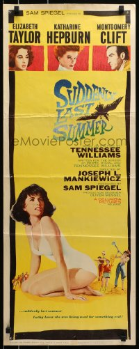 7w948 SUDDENLY, LAST SUMMER insert 1960 artwork of super sexy Elizabeth Taylor in swimsuit!