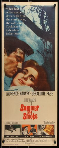 7w949 SUMMER & SMOKE insert 1961 close up of Laurence Harvey & Geraldine Page, by Tennessee Williams!