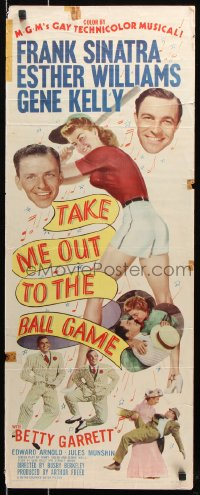 7w951 TAKE ME OUT TO THE BALL GAME insert 1949 Frank Sinatra, Esther Williams, Gene Kelly, baseball!