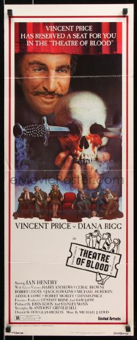 7w957 THEATRE OF BLOOD insert 1973 great art of Vincent Price holding bloody skull w/dead audience!