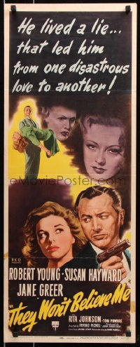 7w958 THEY WON'T BELIEVE ME insert 1947 Susan Hayward, Young with gun, Greer, film noir, rare!