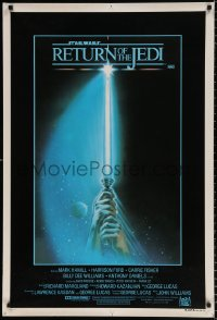 7y013 RETURN OF THE JEDI style A Aust 1sh 1983 George Lucas, hands holding lightsaber by Tim Reamer!