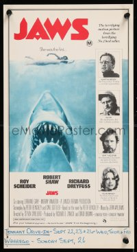 7y015 JAWS Aust poster 1975 Spielberg's man-eating shark attacking swimmer, different & ultra-rare!