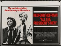 7y071 ALL THE PRESIDENT'S MEN British quad 1976 Dustin Hoffman & Redford as Woodward & Bernstein!