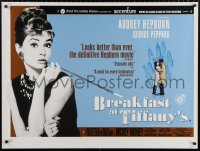 7y073 BREAKFAST AT TIFFANY'S British quad R2001 classic sexy Audrey Hepburn w/ George Peppard!