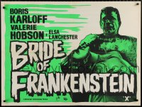 7y074 BRIDE OF FRANKENSTEIN British quad R1960s different art of Karloff as the monster w/Hobson!