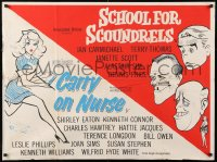 7y076 CARRY ON NURSE/SCHOOL FOR SCOUNDRELS British quad 1960s sexy comedy double bill, ultra-rare!