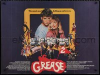 7y078 GREASE 2 British quad 1982 best close up of Michelle Pfeiffer & Maxwell Caulfield!
