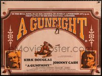 7y079 GUNFIGHT British quad 1971 pay to see Kirk Douglas and Johnny Cash try to kill each other!