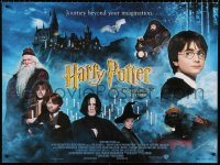 7y080 HARRY POTTER & THE PHILOSOPHER'S STONE British quad 2001 cool different cast montage image!
