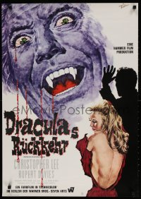 7y039 DRACULA HAS RISEN FROM THE GRAVE German 1969 Hammer, Goetze art of Chris Lee & victim!