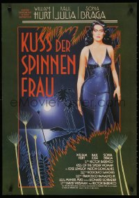 7y040 KISS OF THE SPIDER WOMAN German 1986 cool artwork of sexy Sonia Braga in spiderweb dress!