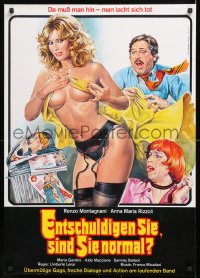 7y044 SCUSI, LEI E NORMALE? German 1981 Umberto Lenzi, Sciotti art of near-naked women!