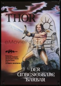 7y046 THOR THE CONQUEROR German 1983 Conan rip-off, cool different sword & sorcery art!