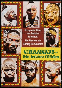 7y048 LAST SAVAGE German 16x23 1979 Addio ultimo uomo, Italian pain documentary, different and wild!