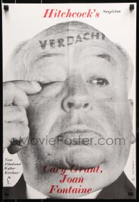 7y050 SUSPICION German 16x23 R1970s Cary Grant, great image of Alfred Hitchcock!