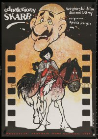 7y002 TREASURE OF SWAMP CASTLE Polish 27x37 1987 Attila Dargay, cool Dybowski cartoon artwork!