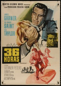 7y052 36 HOURS Spanish 1965 James Garner with gun, sexy Eva Marie Saint, Rod Taylor