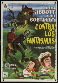 7y053 ABBOTT & COSTELLO MEET FRANKENSTEIN Spanish R1975 different art with Wolfman & Dracula!
