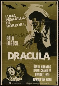 7y055 DRACULA Spanish R1970s great art of vampire Bela Lugosi, Tod Browning horror classic!