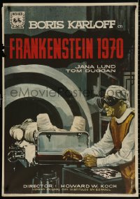 7y060 FRANKENSTEIN 1970 Spanish 1964 completely different Alvaro art of creepy Boris Karloff, rare!