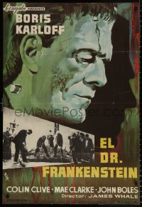 7y058 FRANKENSTEIN Spanish R1965 great different MCP art of Boris Karloff as the monster!
