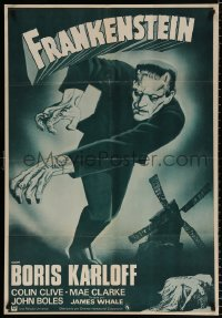 7y059 FRANKENSTEIN Spanish R1970s fantastic artwork of Boris Karloff as the monster!