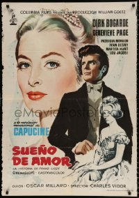 7y065 SONG WITHOUT END Spanish 1960 Dirk Bogarde as Franz Liszt, sexy Genevieve Page, Capucine!