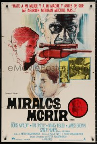 7y067 TARGETS Spanish 1968 Peter Bogdanovich, different art of sniper Tim O'Kelly with rifle!