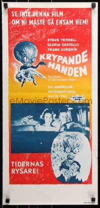 7y020 INVASION OF THE SAUCER MEN Swedish stolpe 1961 art of cabbage head alien & sexy girl!