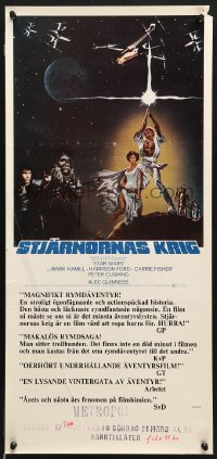 7y021 STAR WARS Swedish stolpe 1977 George Lucas classic epic, art by Tom Jung, ultra-rare!