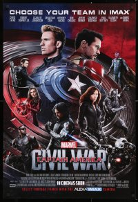 7z532 CAPTAIN AMERICA: CIVIL WAR IMAX int'l advance DS 1sh 2016 Marvel, Evans, Downey, recalled!