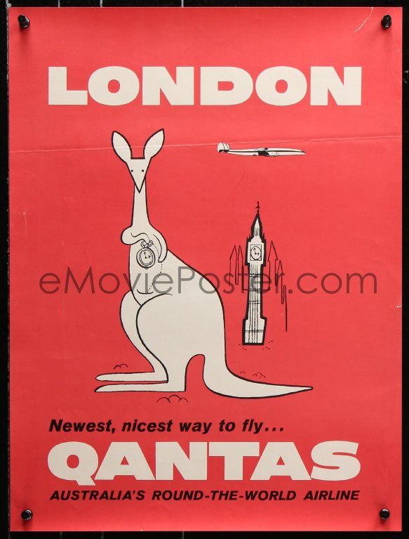 Emovieposter Com 7z118 Qantas London 15x20 Australian Travel Poster 1950s Art Of A Kangaroo And Big Ben