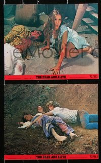 8c076 DEAD ARE ALIVE 6 8x10 mini LCs 1972 Alex Cord, Samantha Eggar, wild zombie horror movie!