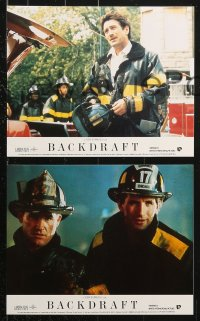 8c017 BACKDRAFT 8 color English FOH LCs 1991 firefighter Kurt Russell, directed by Ron Howard!