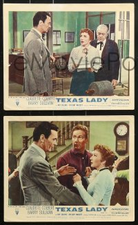8c049 TEXAS LADY 8 color English FOH LCs 1955 Claudette Colbert, Barry Sullivan, western images!