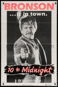 8f002 10 TO MIDNIGHT teaser 1sh 1983 cool close-up of detective Charles Bronson pointing gun!
