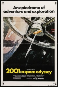 8f005 2001: A SPACE ODYSSEY 1sh R1980 Stanley Kubrick, art of space wheel by Bob McCall!